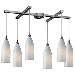 Six Light Satin Nickel White Swirl Glass Multi Light Pendant - ELK Lighting 522-6WS