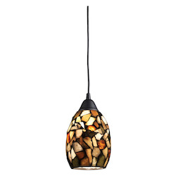 One Light Dark Rust Down Mini Pendant - ELK Lighting 60018-1-LED