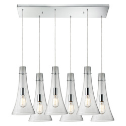 Six Light Polished Chrome Multi Light Pendant - ELK Lighting 60055-6rc