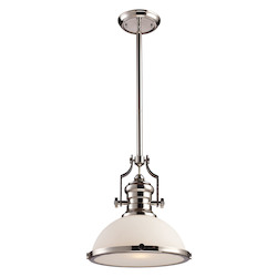 One Light Polished Nickel Down Pendant - ELK Lighting 66113-1-LED