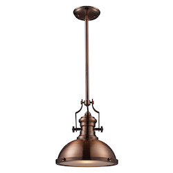 One Light Antique Copper Down Pendant - ELK Lighting 66144-1