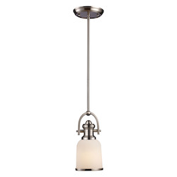 One Light Satin Nickel Down Mini Pendant - ELK Lighting 66161-1-LED