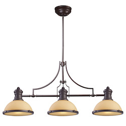 Three Light Oiled Bronze Island Light - 137006