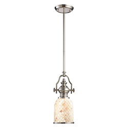 One Light Polished Nickel Cappa Shell Shade Down Mini Pendant - 137051
