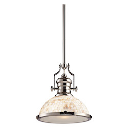 One Light Polished Nickel Cappa Shell Shade Down Pendant - ELK Lighting 66413-1-LED