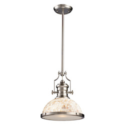 One Light Satin Nickel Cappa Shell Shade Down Pendant - ELK Lighting 66423-1-LED