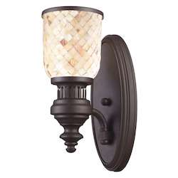 One Light Oiled Bronze Cappa Shell Shade Wall Light - 137065