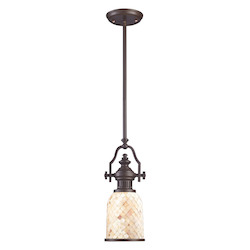 One Light Oiled Bronze Cappa Shell Shade Down Mini Pendant - 137069