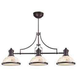 Three Light Oiled Bronze Cappa Shell Shade Island Light - ELK Lighting 66435-3-LED