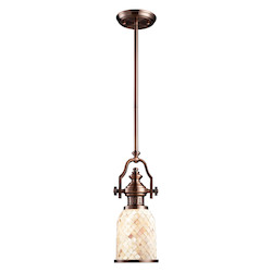 One Light Antique Copper Cappa Shell Shade Down Mini Pendant - 137077