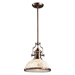 One Light Antique Copper Cappa Shell Shade Down Pendant - ELK Lighting 66443-1-LED