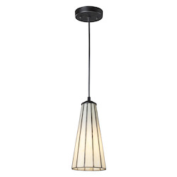 One Light Comet White/Matte Black Down Mini Pendant - ELK Lighting 70000-1CW-LED