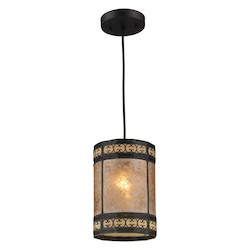 One Light Tiffany Bronze Drum Shade Mini Pendant - ELK Lighting 70066-1