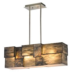 Cubist Collection 4 Light Chandelier In Brushed Nickel - ELK Lighting 72073-4-LED