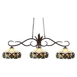 Bronze Chicago 3 Light Down Light Island / Billiard Fixture With Multi Colored Tiffany Glass Shade