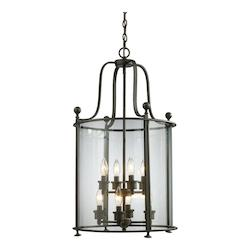 Bronze 8 Light Down Lighting Foyer Pendant With Glass Round Shade