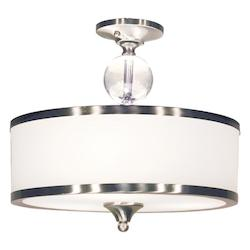 Brushed Nickel 3 Light Semi Flush Mount Ceiling Fixture With Glass Drum Shade