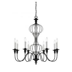 Eight Light Forged Black Up Chandelier - Savoy House 1-6011-8-17