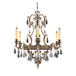 Six Light Moroccan Bronze Crystal Clear Cut Up Chandelier - Savoy House 1-6202-6-241