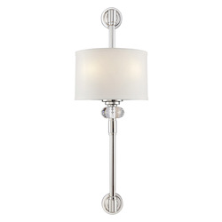 Two Light Polished Nickel White Dupioni Shade Crystal - K9 Crystal Wal - Savoy House 9-5951-2-109