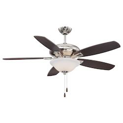 Three Light Polished Nickel White Frosted Glass Ceiling Fan - Savoy House 52-831-5RV-109