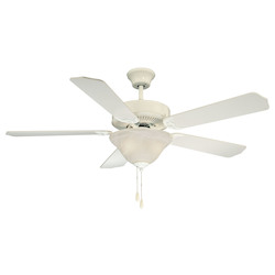 Two Light White White Marble Glass Ceiling Fan - Savoy House 52-ECM-5RV-WH