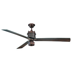 One Light White Etched Glass Byzantine Bronze Ceiling Fan - Savoy House 56-870-3CN-35