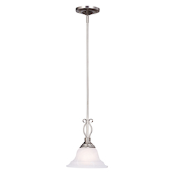 One Light Pewter White Faux Alabaster Glass Down Pendant - Savoy House KP-SS-130-1-69