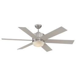 One Light Satin Nickel White Etched Glass Ceiling Fan - Savoy House 60-820-6SV-SN