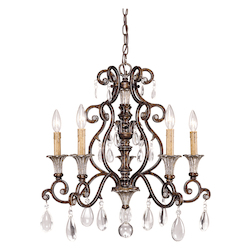 Five Light New Tortoise Shell W/Silver Crystal Clear Up Chandelier - Savoy House 1-3001-5-8