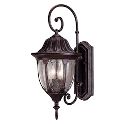 Two Light Bark & Gold Clear Seeded Glass Wall Lantern - Savoy House 5-1501-52