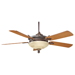 Two Light Antique Copper Cream Marble Glass Ceiling Fan - Savoy House 52-15-5TK-16