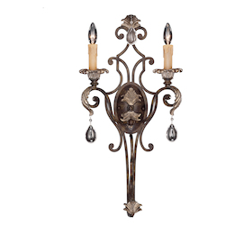 Two Light Moroccan Bronze Crystal Clear Wall Light - Savoy House 9-7189-2-241