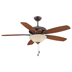 Three Light Cream Frosted Glass Byzantine Bronze Ceiling Fan - Savoy House 52-831-5RV-35