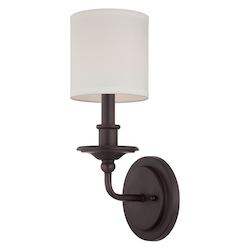 One Light English Bronze White Shade Wall Light - Savoy House 9-1150-1-13