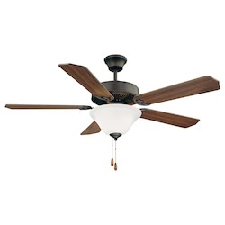 Two Light English Bronze White Marble Glass Ceiling Fan - Savoy House 52-ECM-5RV-13WG