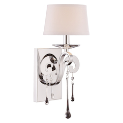 One Light White Shade Crystal Clear Polished Chrome Wall Light - Savoy House 9-4246-1-11