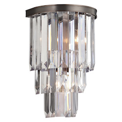 Two Light Burnished Bronze Crystal - Acrylic Wall Light - Savoy House 9-9804-2-28