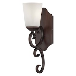 One Light White Opal Etched Glass Espresso Bathroom Sconce - Savoy House 9-4372-1-129
