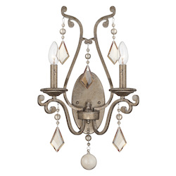 Two Light Oxidized Silver Crystal - Champagne Wall Light - Savoy House 9-8104-2-128