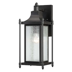 One Light Black Clear Seeded Glass Wall Lantern - Savoy House 5-3451-BK