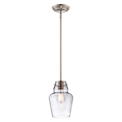 One Light Satin Nickel Clear Glass Down Mini Pendant - Savoy House 7-4134-1-SN