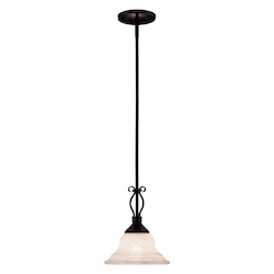 One Light English Bronze Cream Faux Alabaster Glass Down Pendant - Savoy House KP-SS-130-1-13