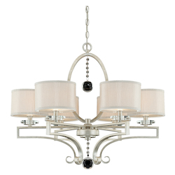 Six Light Silver Fabric Shade Silver Sparkle Drum Shade Chandelier - Savoy House 1-250-6-307