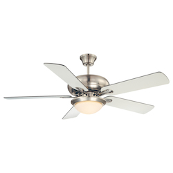 Two Light Satin Nickel White Frosted Glass Ceiling Fan - Savoy House 52-CDC-5RV-SN