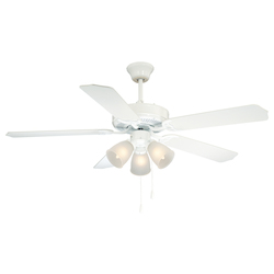 Three Light White Satin White Frosted Glass Ceiling Fan - Savoy House 52-EUP-5RV-WH