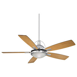 One Light Chrome White Frosted Halophane Glass Ceiling Fan - Savoy House 54-220-5RV-CH