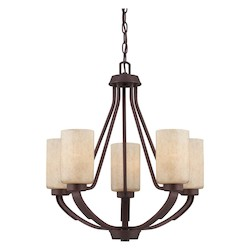 Five Light Hand Painted Cream Glass Heritage Bronze Candle Chandelier - Savoy House 1-5430-5-117