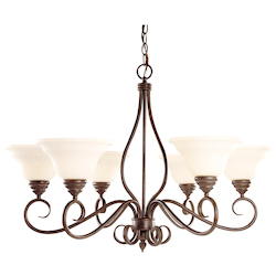 Six Light Cream Faux Alabaster Glass Sunset Bronze Up Chandelier - Savoy House KP-104-6-91