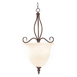 Four Light Cream Faux Alabaster Glass Sunset Bronze Up Pendant - Savoy House KP-98-4-91